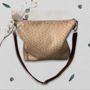 Cream Ostrich Leather Crossbody Bag
